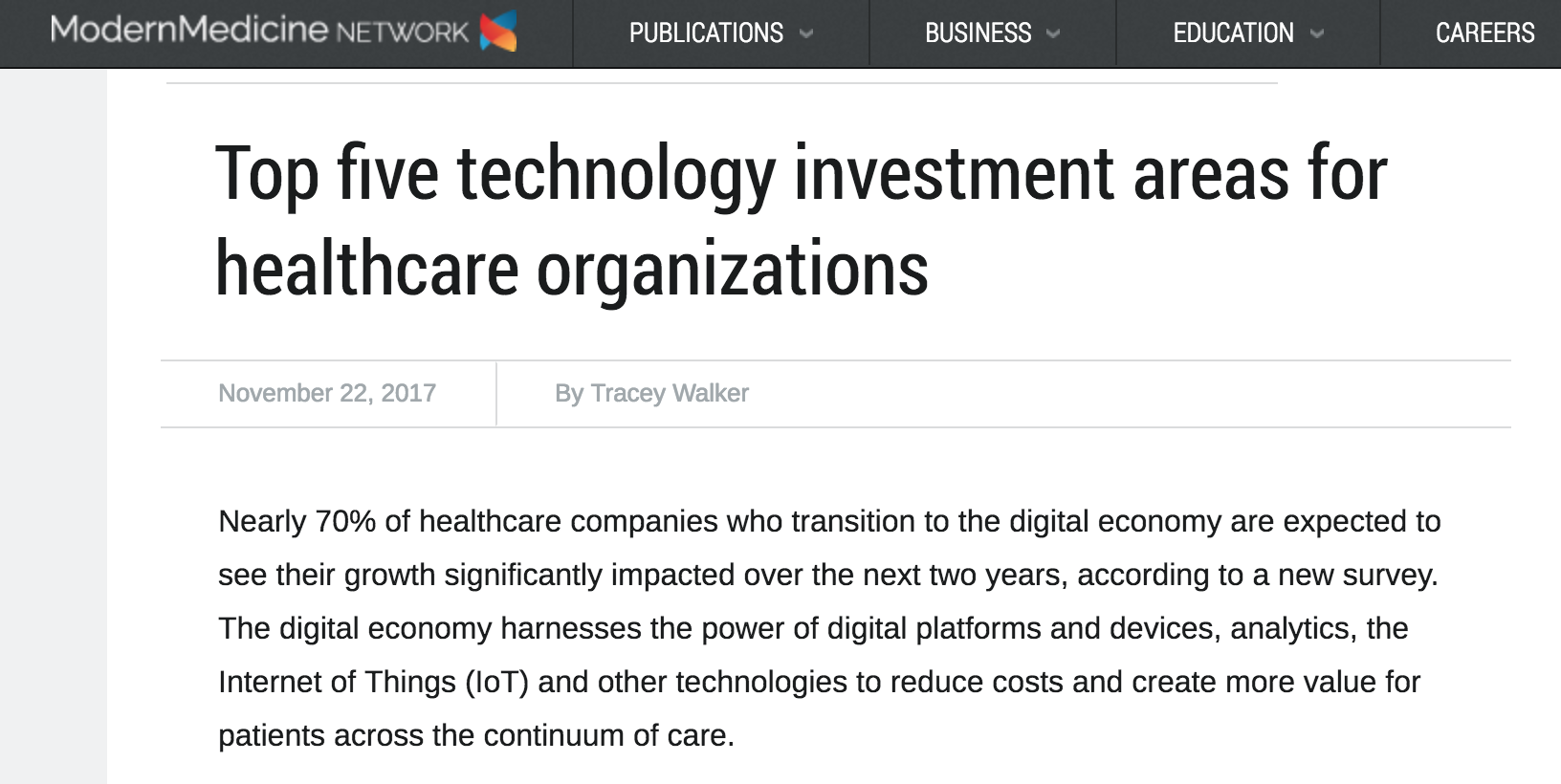 Top five technology investment areas for healthcare